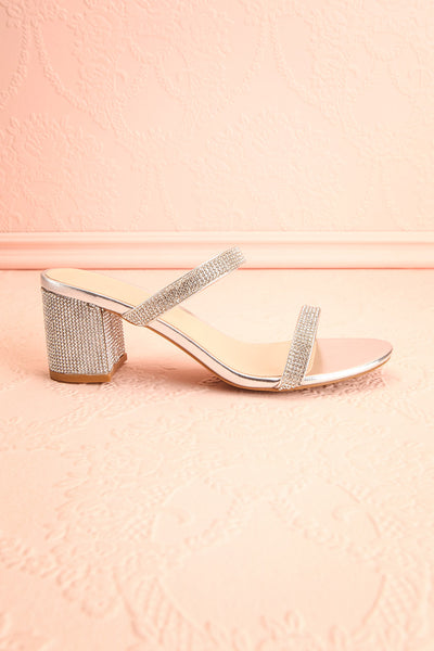 Chamfort Silver Slip-On Block Heel Sandals | Boutique 1861 side view