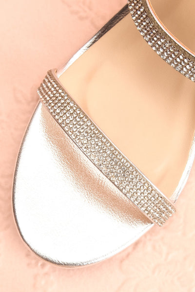 Chamfort Silver Slip-On Block Heel Sandals | Boutique 1861 flat close-up