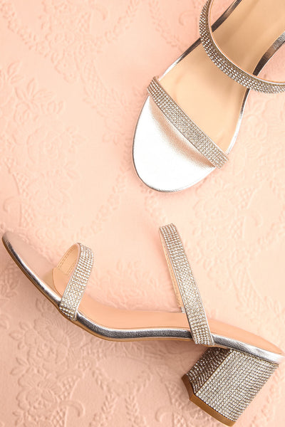 Chamfort Silver Slip-On Block Heel Sandals | Boutique 1861 flat view