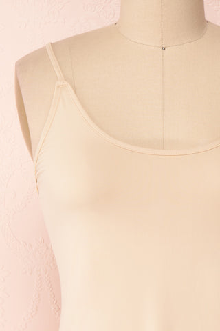 Chantala Beige Soft and Stretchable Fitted Slip Dress | Boutique 1861 front close-up