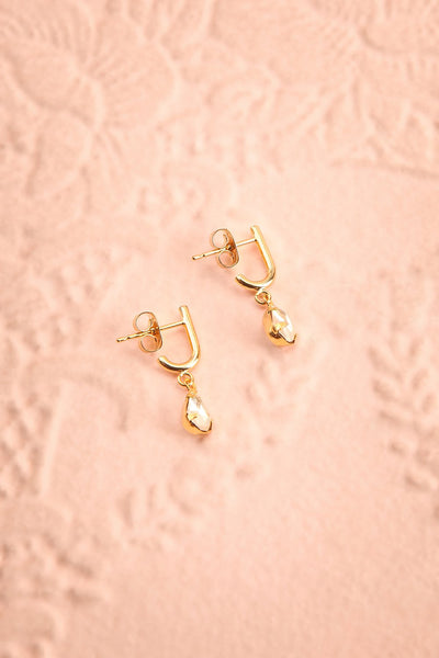 Charline Crystal Golden Pendant Earrings | Boudoir 1861