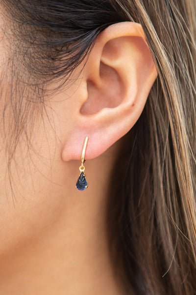 Charline Lapis Blue Golden Pendant Earrings | Boutique 1861 on model