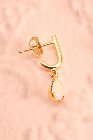 Charline Quartz Golden Pendant Earrings | Boudoir 1861 close-up