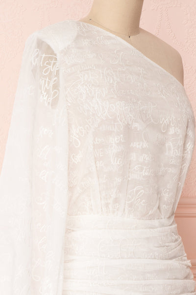 Charmaina White Embroidered One Shoulder A-Line Dress | Boudoir 1861