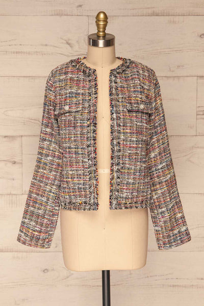 Chatel Colorful Tweed Jacket with Pearl Buttons | La Petite Garçonne front view