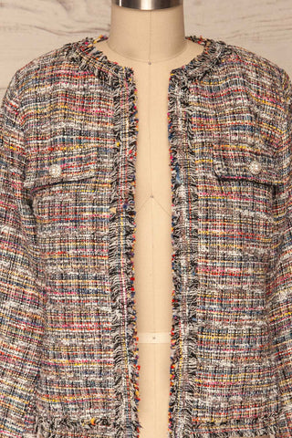 Chatel Colorful Tweed Jacket with Pearl Buttons | La Petite Garçonne front close-up