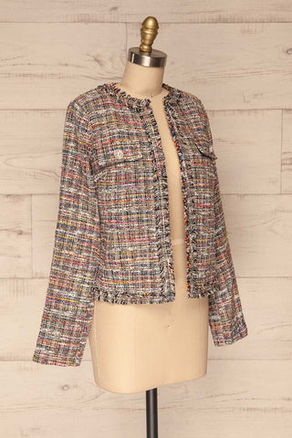 Chatel Colorful Tweed Jacket with Pearl Buttons | La Petite Garçonne side view
