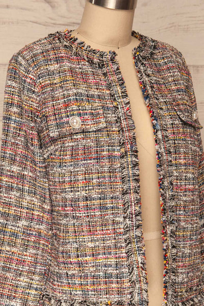 Chatel Colorful Tweed Jacket with Pearl Buttons | La Petite Garçonne side close-up