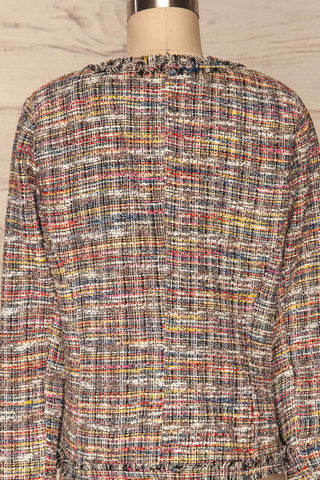Chatel Colorful Tweed Jacket with Pearl Buttons | La Petite Garçonne back close-up