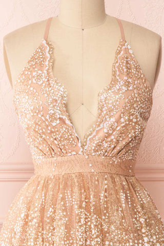 Chayli Rosegold Glitter Party Dress | Robe | Boutique 1861 front close-up