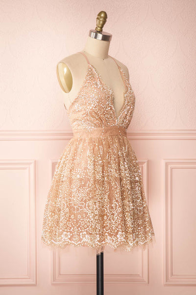 Chayli Rosegold Glitter Party Dress | Robe | Boutique 1861 side view