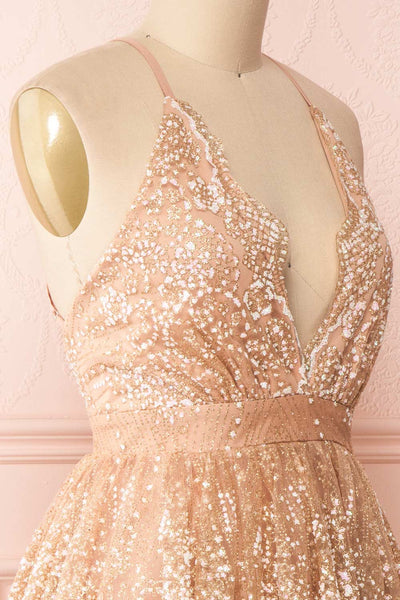 Chayli Rosegold Glitter Party Dress | Robe | Boutique 1861 side close-up