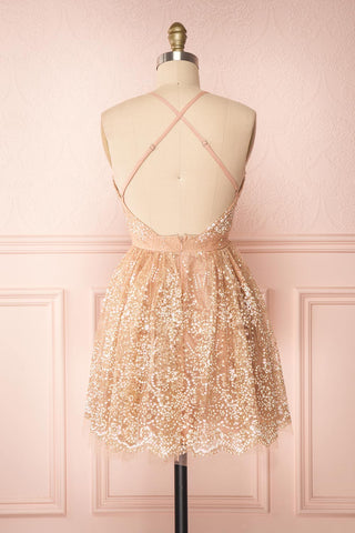 Chayli Rosegold Glitter Party Dress | Robe | Boutique 1861 back view