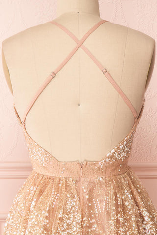 Chayli Rosegold Glitter Party Dress | Robe | Boutique 1861 back close-up