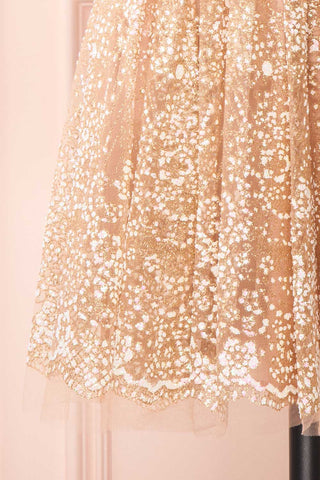 Chayli Rosegold Glitter Party Dress | Robe | Boutique 1861 bottom close-up