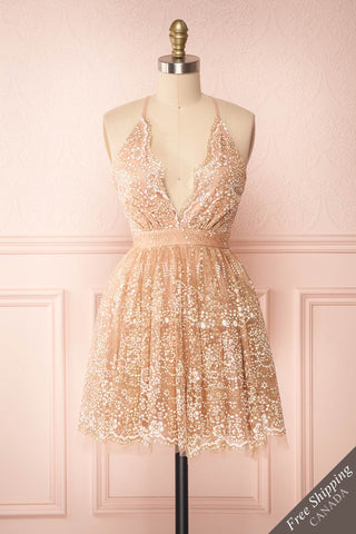 Chayli Rosegold Glitter Party Dress | Robe | Boutique 1861 front view