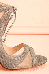 Cherie Chrome Silvery Peep-toe Heeled Sandals | Boudoir 1861