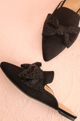 Chérubini Black Pointed Toe Mules with Sparkly Bow | Boutique 1861