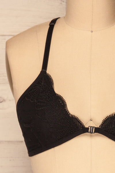 Chiavari Black Lace & Mesh Bralette | La Petite Garçonne Chpt. 2 front close-up