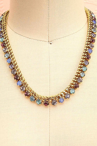 Chicomecoatl - Gold chain and blue, purple, lilac crystal necklace 2