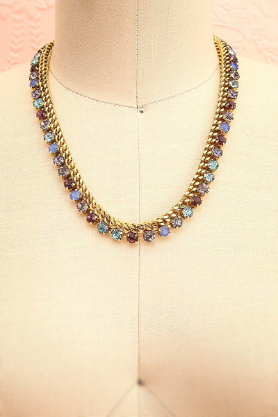 Chicomecoatl - Gold chain and blue, purple, lilac crystal necklace 1