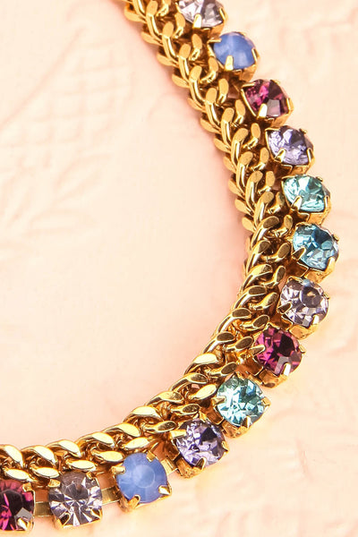 Chicomecoatl - Gold chain and blue, purple, lilac crystal necklace 4