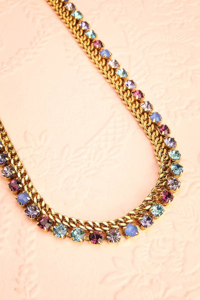 Chicomecoatl - Gold chain and blue, purple, lilac crystal necklace 3