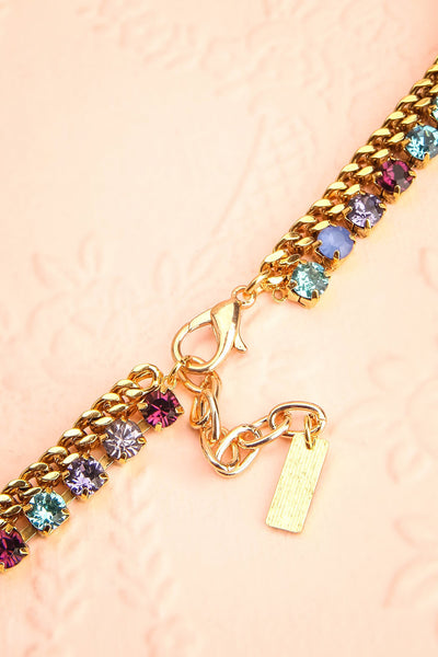 Chicomecoatl - Gold chain and blue, purple, lilac crystal necklace 5