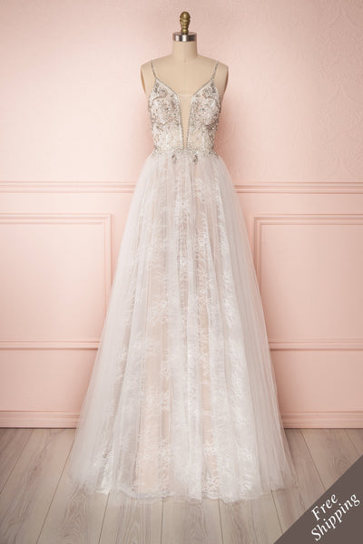 Chiharu White Tulle A-Line Bridal Dress with Crystals | Boudoir 1861