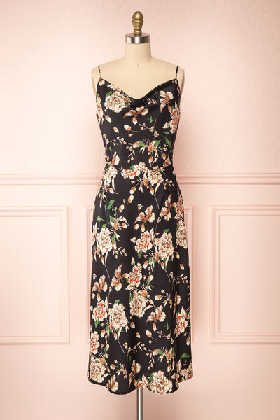 Chirley Black Floral Silky Midi Dress | Boutique 1861 front view