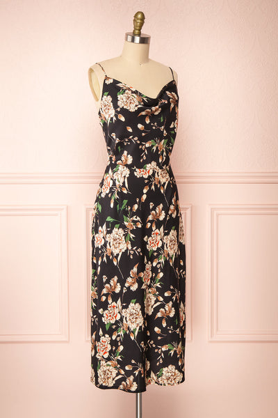 Chirley Black Floral Silky Midi Dress | Boutique 1861 side view