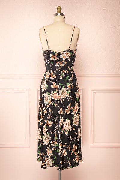 Chirley Black Floral Silky Midi Dress | Boutique 1861 back view