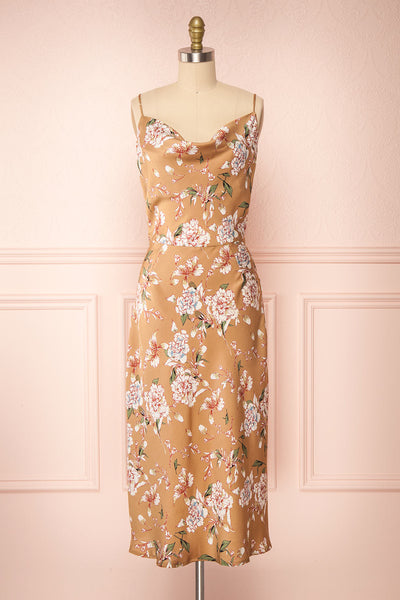 Chirley Taupe Floral Silky Midi Dress | Boutique 1861 front view