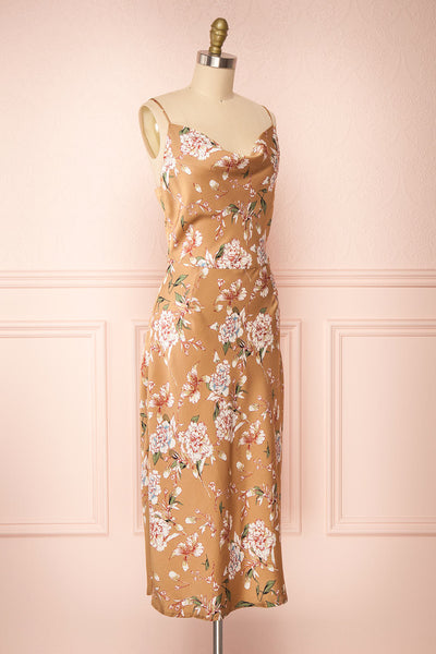 Chirley Taupe Floral Silky Midi Dress | Boutique 1861 side view