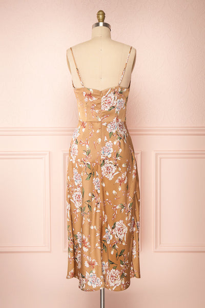Chirley Taupe Floral Silky Midi Dress | Boutique 1861 back view