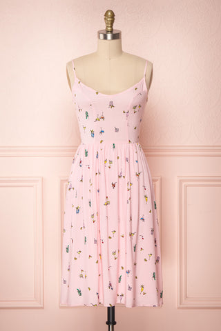 Chiryu Pink Printed A-Line Summer Dress | Boutique 1861