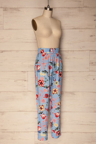Chociwel Blue Floral Tapered Lightweight Pants | La Petite Garçonne 3