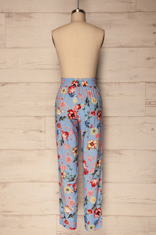 Chociwel Blue Floral Tapered Lightweight Pants | La Petite Garçonne 5