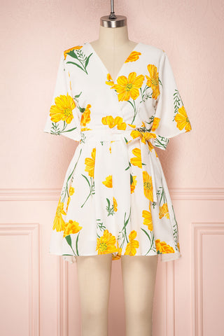 Choden White Romper with Yellow Floral Print | Boutique 1861