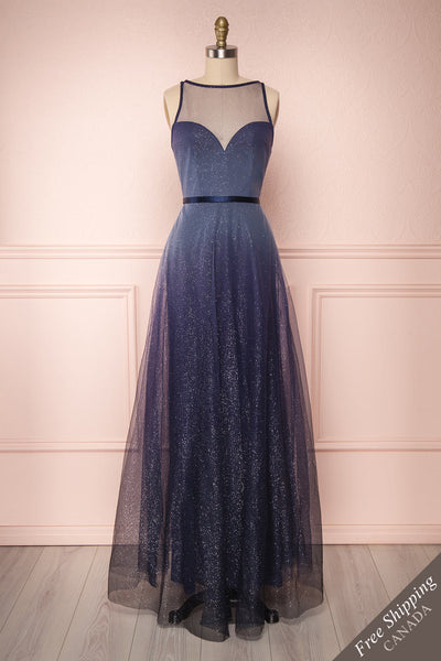 Chovala Gradient Midnight Blue Glitter Gown | Boutique 1861