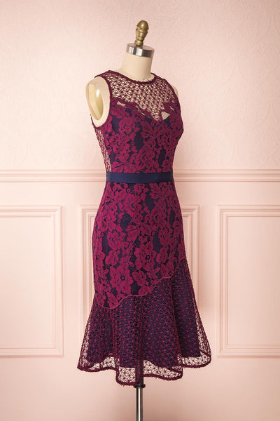 Ciara Purple Lace Midi Dress | Robe Cocktail | Boutique 1861 side view