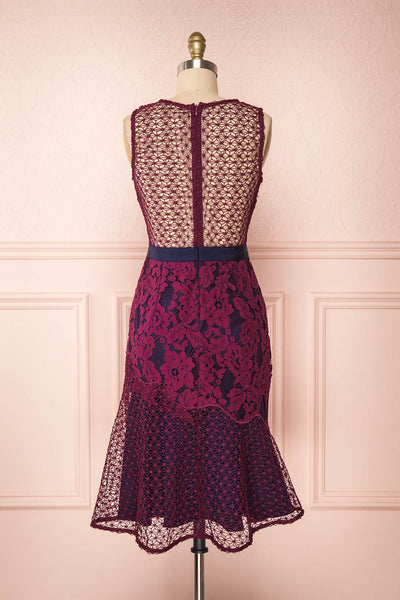 Ciara Purple Lace Midi Dress | Robe Cocktail | Boutique 1861 back view