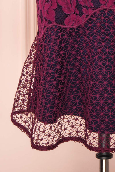 Ciara Purple Lace Midi Dress | Robe Cocktail | Boutique 1861 bottom close-up