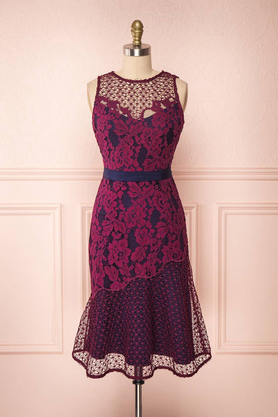 Ciara Purple Lace Midi Cocktail Dress | Boutique 1861