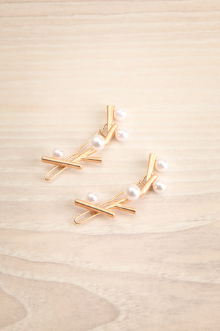 Citrinus Golden Branch Hair Clips with Pearls | La Petite Garçonne