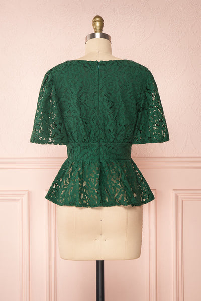 Claatje Green Lace Peplum Top with Plunging Neckline | Boutique 1861 back view