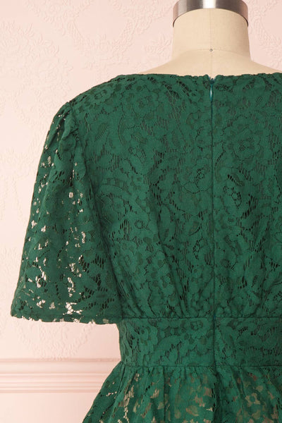 Claatje Green Lace Peplum Top with Plunging Neckline | Boutique 1861 back close-up