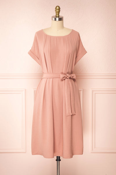 Claire Pink Short Sleeve Tie Waist Dress | Boutique 1861 front view