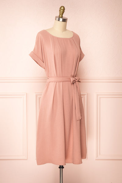 Claire Pink Short Sleeve Tie Waist Dress | Boutique 1861 side view