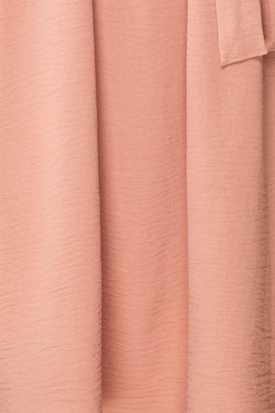 Claire Pink Short Sleeve Tie Waist Dress | Boutique 1861 fabric